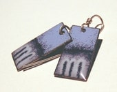 three tone blue dangle rectangular enamel earrings