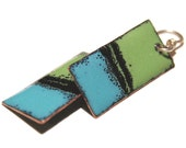 bright green, blue, and black enamel geometric earrings