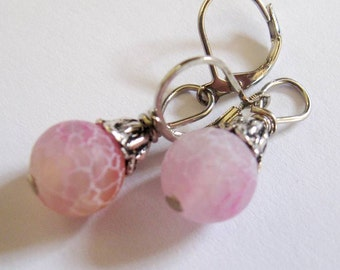 Light Pink Fire Cracked Agate Gemstones, Platinum Silver Leverback Earrings