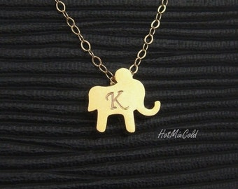 Small Elephant Necklace, Gold Lucky Charm Initial Necklace, Personalized Monogram Elephant Jewelry, Silver or Rose Gold Sister Necklace