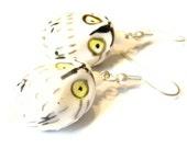 Sale 10% Off Hedwig Snowy Owl Earrings -- White Porcelain Bird Earrings Kawaii Earrings
