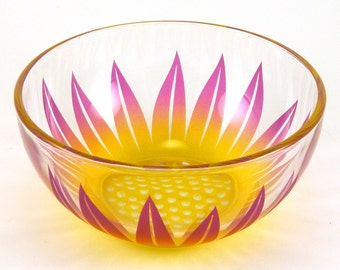 Wildflower - Soup Bowl - Etched and Painted Glassware - Custom Made to Order