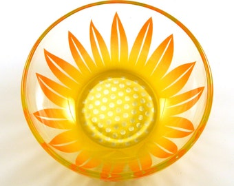 Wildflower Glass Bowl -  Sunshine Orange and Yellow - Etched and Painted Glassware - Custom Made to Order