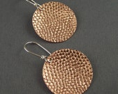Copper and Sterling Silver Pebbled Circle Earrings