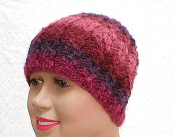 Lacy cable knit beanie hat, plum amethyst purple rose, striped hat, wool hat, womens hat, cloche hat, toque, cable hat, runner hiking biker