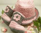 Western Hat and Boots -Baby Girl Cowboy Gift Set-Pink and Gray--Baby Shower Gift--#207