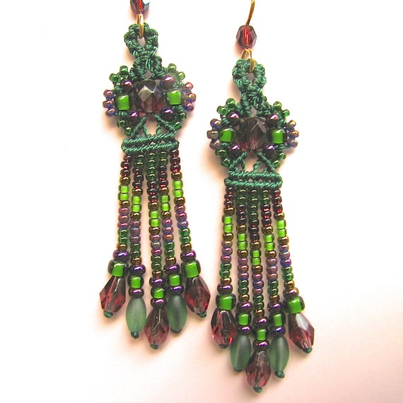 Long Beaded Earrings -Macrame Beading -Micro Macrame Jewelry -Green and purple-Petite style