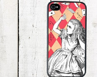 Alice in Wonderland Pack of Cards Phone Case Pink for iPhone 4 4s 5 5s 5c SE 6 6s 7  6 6s 7 Plus Galaxy s4 s5 s6 s7 Edge