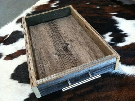 B A R N  wood serving tray / reclaimed wood tray / barn wood box with modern handles