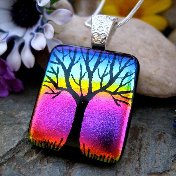 Tree of Life Dichroic Pendant Hand Etched Rainbow Glass Art