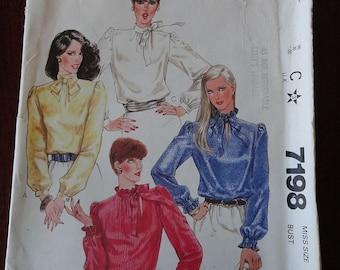 Vintage 80s McCalls 7198 Misses Set of Blouses Pattern sz 16 B38 UNCUT