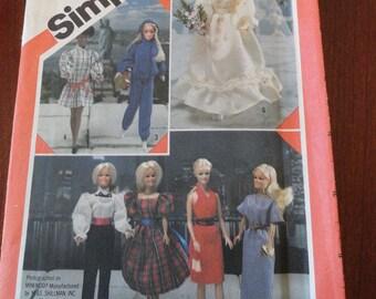 Vintage 80s Barbie Doll Clothes Wardrobe Pattern UNCUT