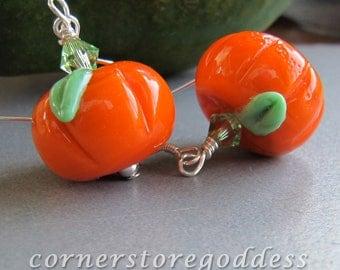 Lampwork Glass Autumn Thanksgiving Halloween Pumpkin Earrings EHAG