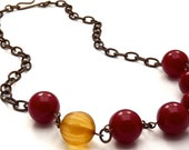 Vintage Lucite and Brass Cherry Red and Gold Necklace