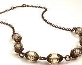 Vintage Inspired Natural Brass and Czech Crystal Necklace