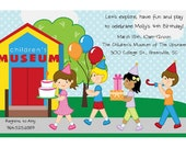 Children's Museum Invitations - Change hair skin color of Birthday Girl - Kids Party
