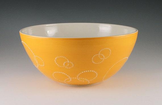 SALE Serving Bowl Orange - Large Porcelain Circle Serving Bowl in Orange
