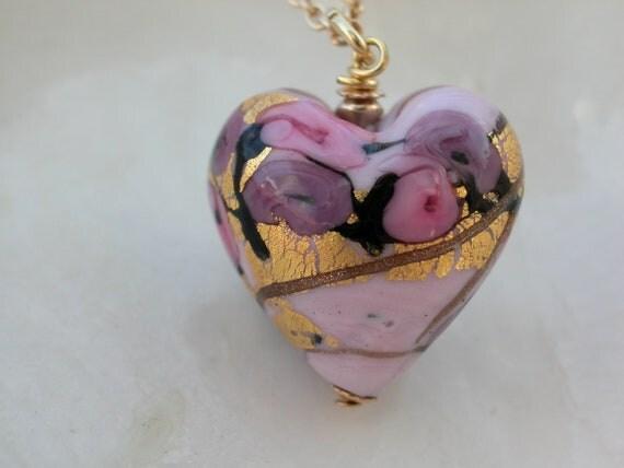 Venetian Murano Glass Fiorato Pink Heart Necklace