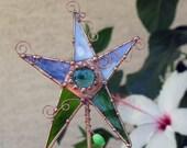 OOAK Garden Folk Art Plant Stake Stained Glass and Copper Wire Groovyglass Dianne McGhee