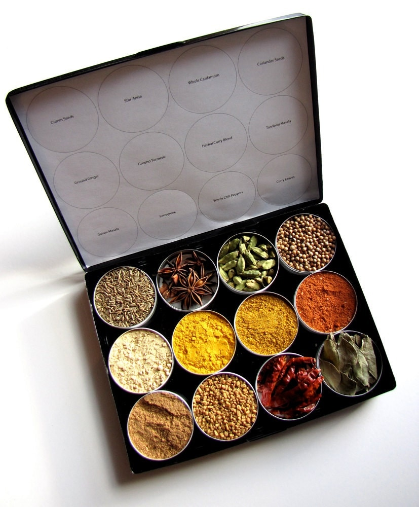 Indian spice kit in a brushed metal storage case set of 12 for Kitchen set in hindi