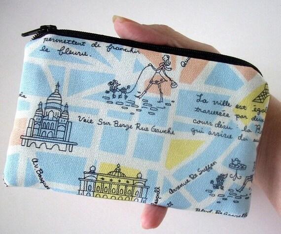 Paris Coin Purse Zipper pouch Padded Eco Friendly Coin Purse Gadget Case - Paris Life Blue Linen Japanese Import