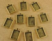 Mini Rectangle Single Loop Bezel Frame Trays - Set of Ten -  Antique Gold Finish