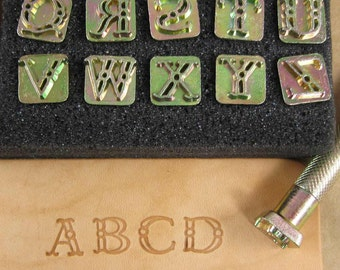 """3/8""""  Fancy Alphabet Stamps / Set of 26 With Handle / Use On Leather, Clay and Paper"""