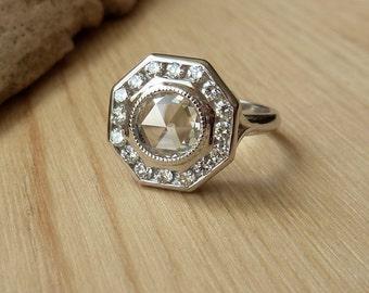 Rose Cut Moissanite Octagon Halo Ring