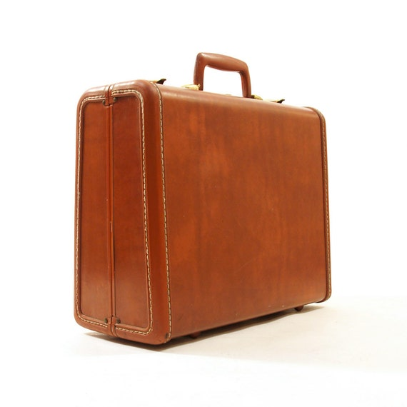 """50s Samsonite Hard Side Suitcase / Small 15"""" / Brown Leather"""
