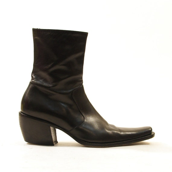 90s black leather beatle boots zip up chelsea by