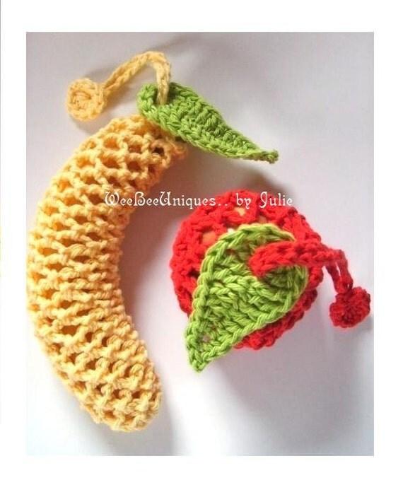 crochet pattern digital download apple and banana sack