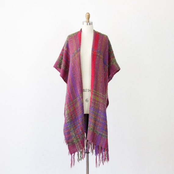 Purple, Green, Red Plaid Wool Vintage Shawl