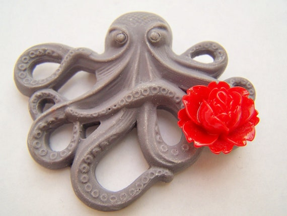 Graphite Gray Octopus Pin, Convertible to Octopus Pendant, Octopus Brooch, Grey with Red Flower, Gray & Red Pendant or Pin - Octopin