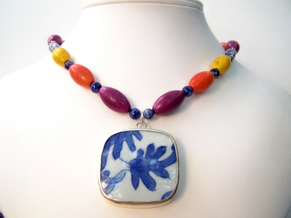 Colorful Statement Necklace, Pottery Shard Necklace, Vivid Colors Beaded Necklace with Ming Porcelain Pendant