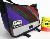 Colorful Recycled Bike Tube & Canvas Striped Messenger Bag - Petite Size