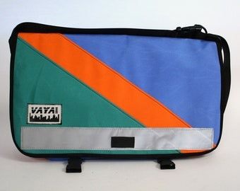 Bright Medi Sized Messenger Bag - Capri, Orange, & Turquoise Canvas