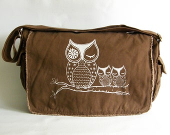 Owl Messenger Bag, Hand Printed Cotton Canvas Messenger Bag,  Gift for Women, Computer Bag, Book Bag, School Bag,  Diaper Bag
