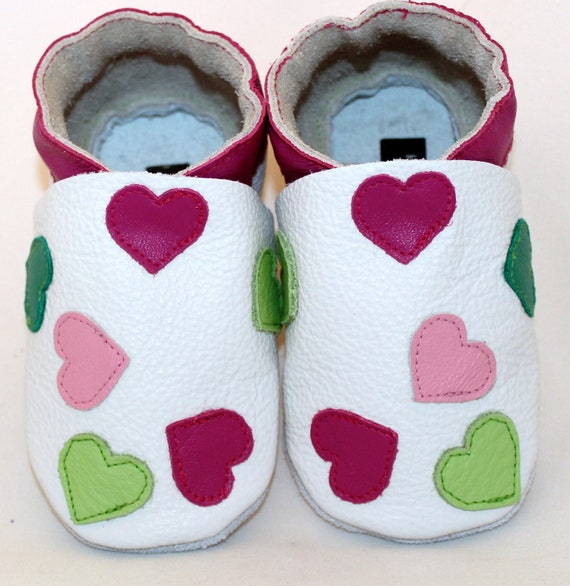 NEW soft sole leather BABY crib shoes sweet heart pick your size