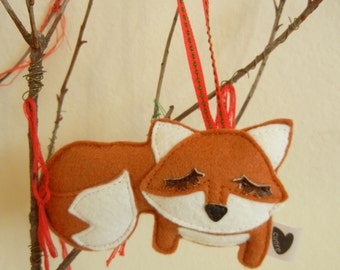 Grayson the Fox Wool Felt Applique Decorative Holiday Ornament