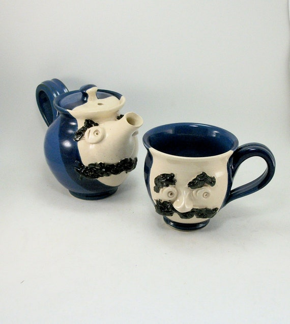 mustache man teapot and cup