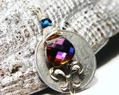 Reserved for joyelizabeths Louisiana Luxury Token Fleur De Lis ... Swarovski Necklace on Sterling Silver ... Laissez Les Bon Temps Roulez