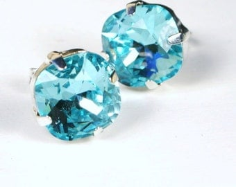 Turquoise Blue Crystal Stud Earrings Classic Sparkling Placid Aqua Solitaire Swarovski 10mm Sterling Silver Post & Copper Women's Jewelry