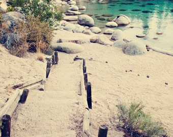Landscape Fine Art Photograph, Beach Path, Secret Cove, Lake Tahoe Art, Tranquil Water, Teal, Sand, Path, Vacation, Wall Art, Resort, Print