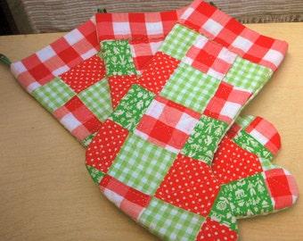 Vintage Christmas Stockings Set of Three Patchwork Handmade Stockings