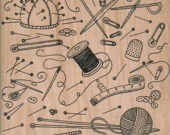 Background stamp Sewing  supplies wood mounted 12163