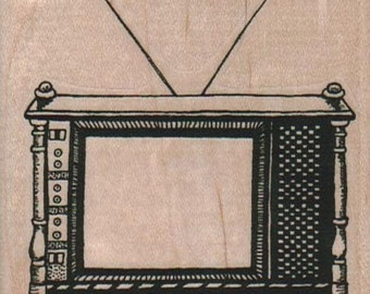 Console TV With Rabbit Ears  rubber stamp    stamp number 12691  mounting options wood mounted, unmounted or cling stamp