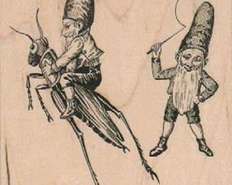 Rubber stamp Two Gnomes hobbit With Grasshopper  unMounted  scrapbooking supplies 1786d2