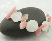 "Carved Rose Quartz and Czech Glass Bracelet, ""Rose Garden"", carved stone rose beads, flower garden bracelet"
