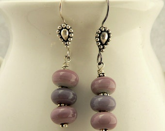 Paisley and Purple Lampwork Bead Earrings, sterling silver earwires, lavender beads, simple lamp work earrings