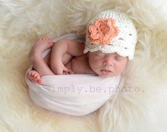 Baby Newborn Beanie, Crochet Baby Hat, Baby Girl Hat, Baby Newborn Hat, Newborn Beanie, White Coral, Newborn Baby Hat, Toddler Hat